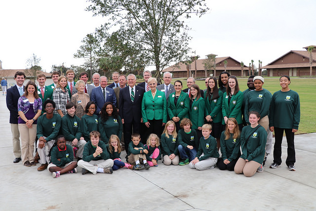 Governor Nathan Deal and first lady Sandra Deal gathered with the Jekyll Island Authority board, 4-H staff members, local 4-H'ers and state 4-H board officers for the opening of Camp Jekyll.