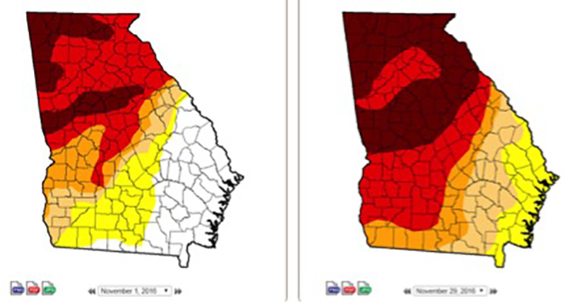 Despite rains from hurricanes Hermine and Matthew, the coast of Georgia was rated abnormally dry by the U.S. Drought Monitor by the end of November.