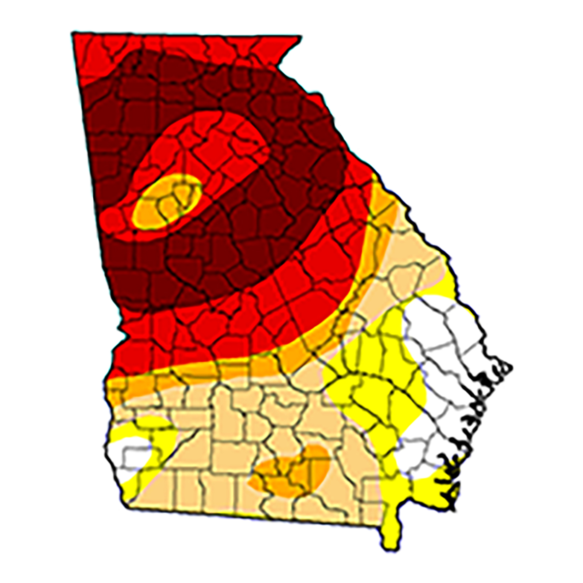 As of Dec. 27, 2016, this map of Georgia shows areas that are experiencing abnormally dry or drought conditions, according to the U.S. Drought Monitor. Image credit: USDA Drought Monitor.