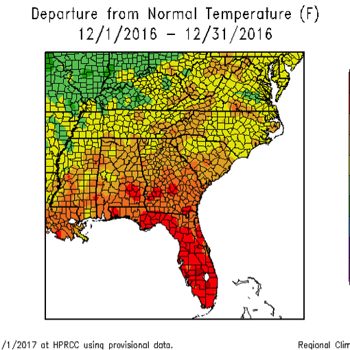 Temperatures were 2 to 6 degrees higher than normal across the state during December 2016.