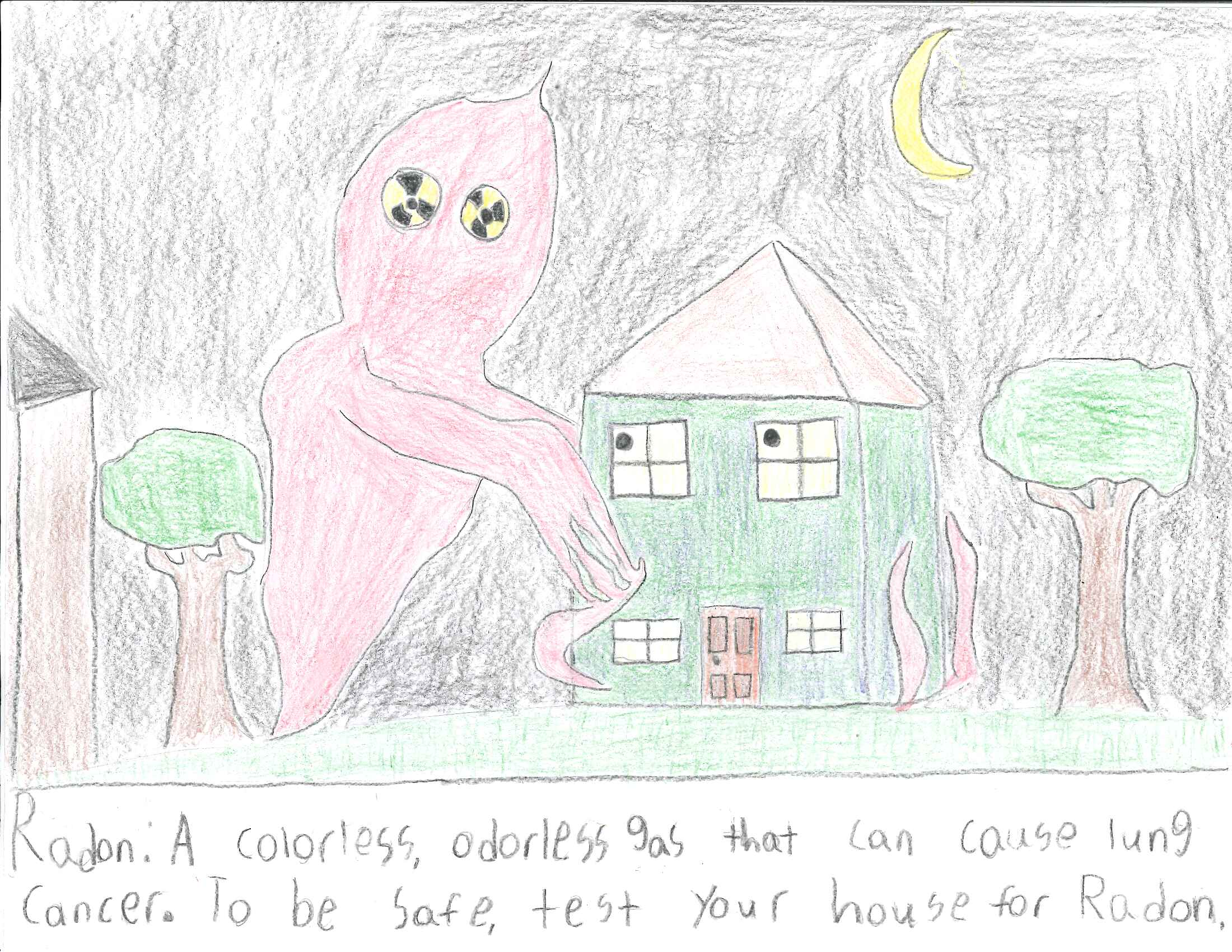 Connor Allen, a seventh-grader from Athens, Georgia, won the third-place prize in Georgia's Radon Poster Contest for a depiction of a large, ghostly radon cloud menacing a worried-looking house.