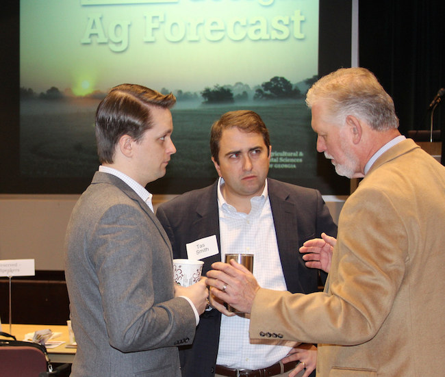 The 2017 Georgia Ag Forecast event in Macon was held at the Georgia Farm Bureau Building. CAES ag economist Don Shurley is shown (r) with Hunter Loggins of the Georgia Agribusiness Council and Tas Smith of the Georgia Farm Bureau.