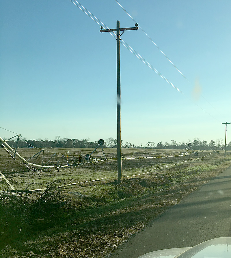 A damaged irrigation pivot in Thomas County, Georgia. Credit: Jim Rayburn