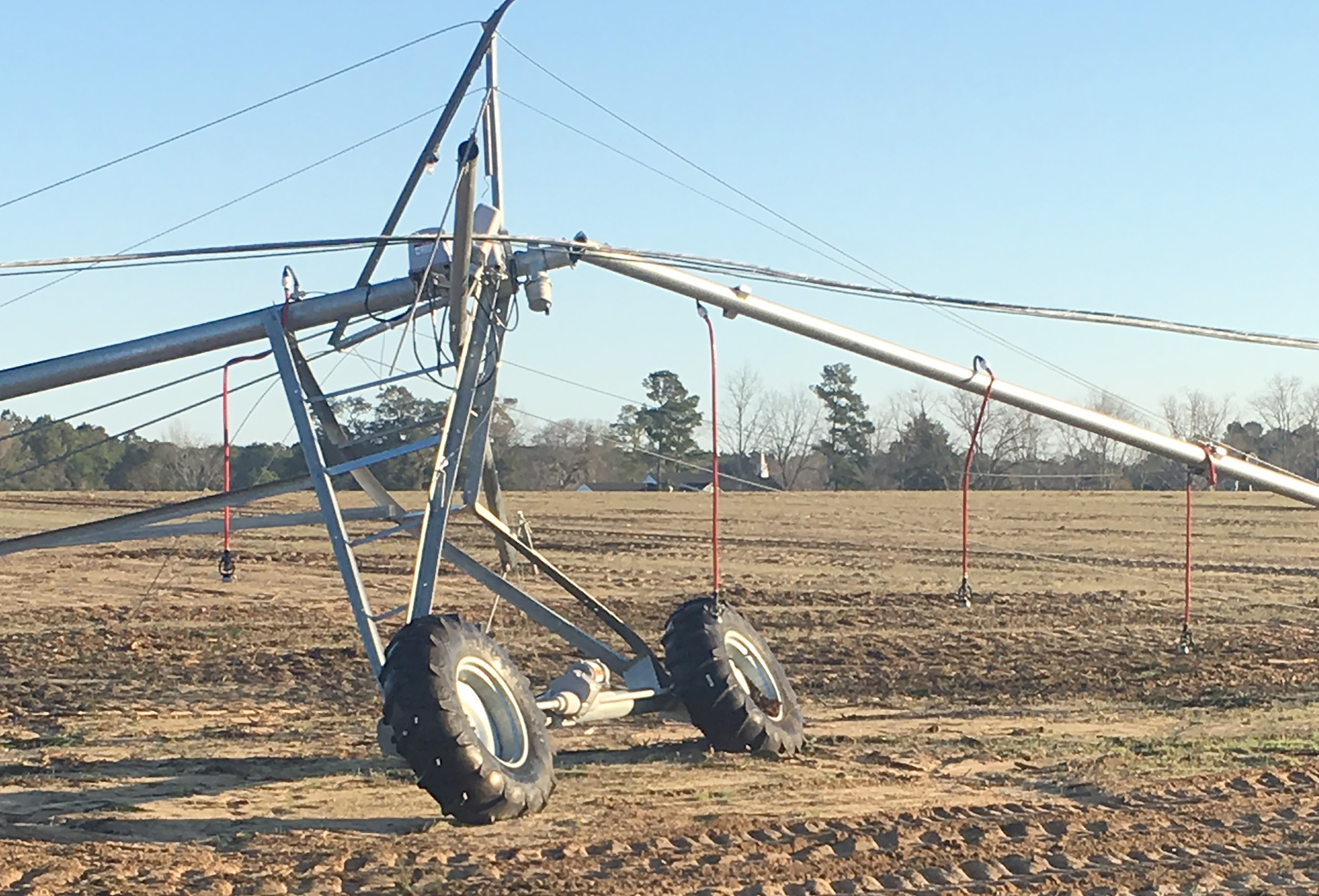 Pictured is damaged irrigation pivot in Thomas County. Credit: Jim Rayburn