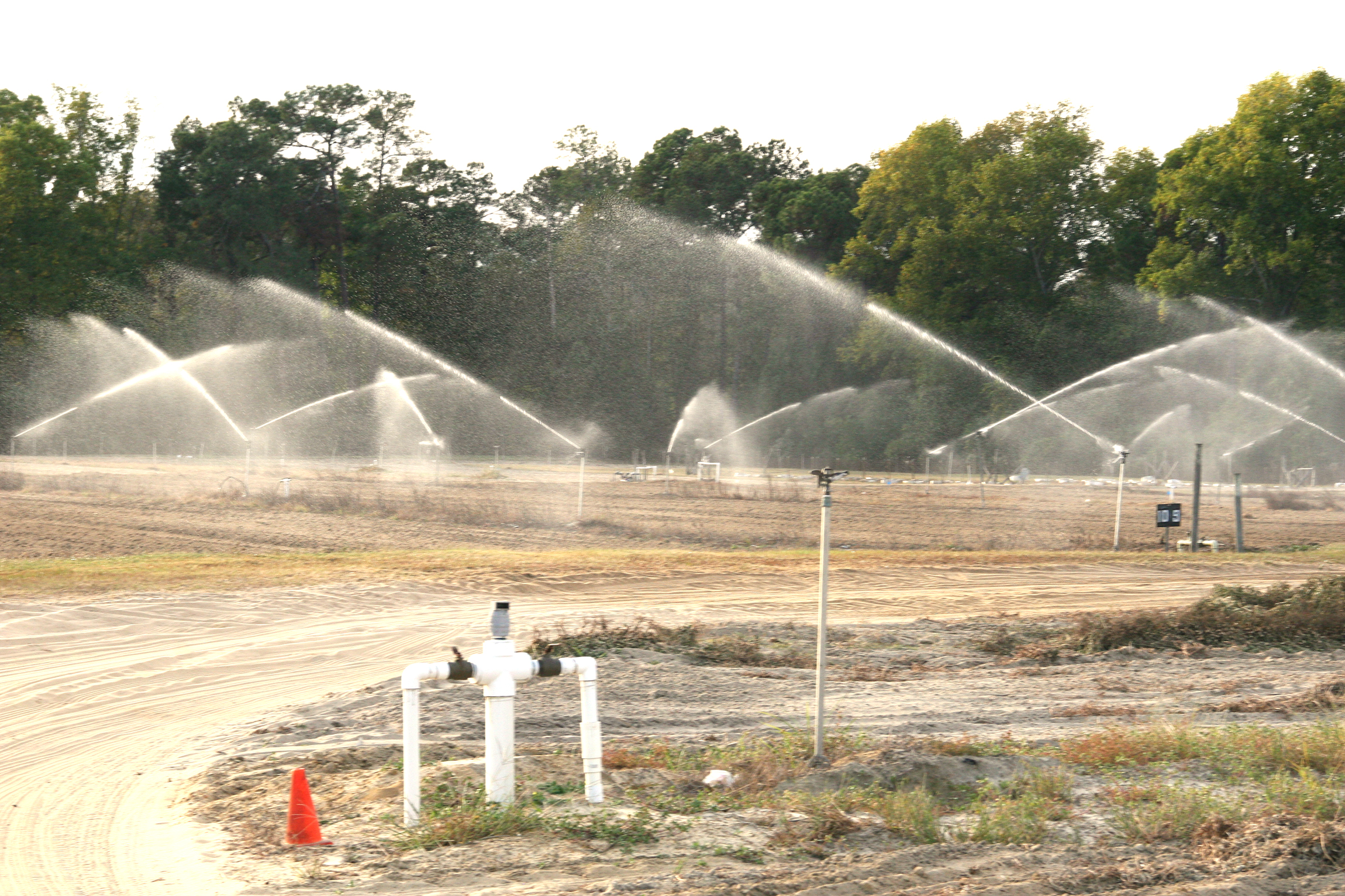 Irrigation pivots at work on the UGA Tifton Campus.