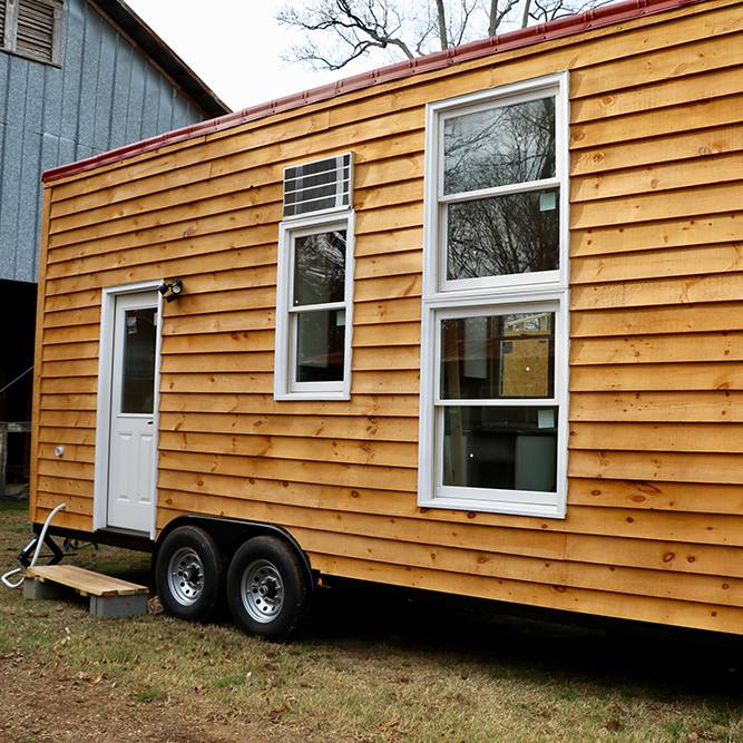 "The tiny house built by University of Georgia students as part of ""Green Building and the Tiny House Movement"" course is about 150 square feet and will be delivered to Ladybug Farms in Rabun County over spring break."