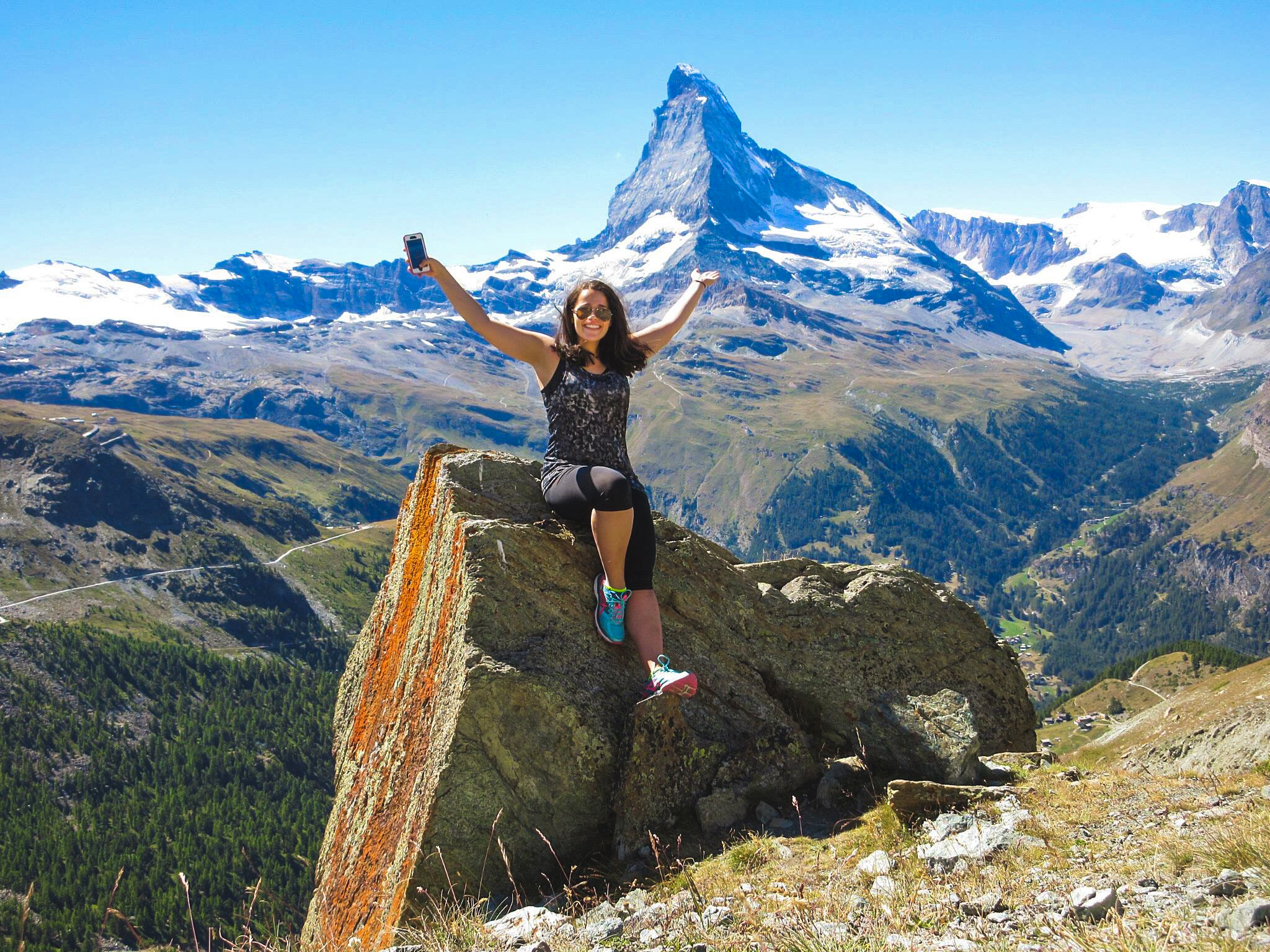 Agribusiness student, Caroline Phillips poses in front of the Matterhorn during her exchange semester in Switzerland.