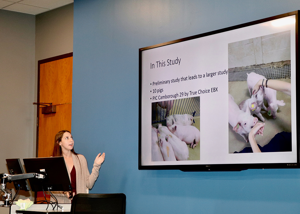Sarah Kanter, a student studying animal science at the UGA College of Agricultural and Environmental Sciences, presents her research on gait changes in swine at the 2017 CAES Undergraduate Research Symposium on April 12.