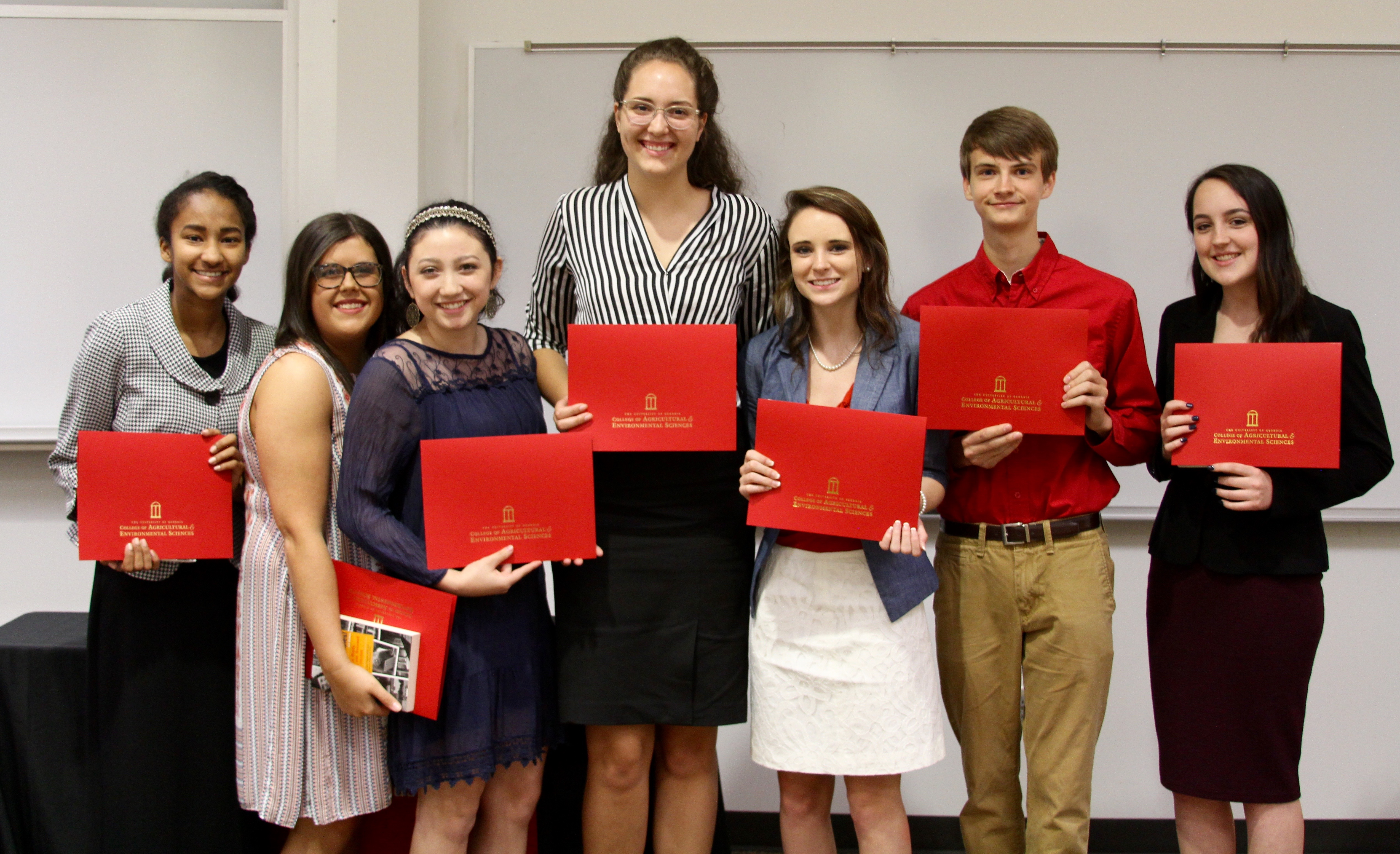 The inaugural class of the Pike County High School STEM Academy at the University of Georgia Griffin Campus included (l-r) Talisa Watts, Megan Pitts, Nikki Dodson, Taylor Thomas, Abigail Chasteen, Dylan Blohm and Courtney Bagwell.