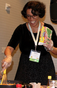 "Terri Carter, a UGA Extension Family and Consumer Sciences county program assistant in Cobb County, Georgia, has found a unique way to teach nutrition and a history lesson at the same time. Carter's love of the South and her heritage led her to develop the ""Food History of the South"" program. She concludes her program by sharing healthy adaptations to traditional recipes like black-eyed peas and collard greens. She hopes her clients will think about those who introduced these foods to the South when they cook and serve a traditional Southern meal."