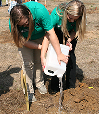 Mitchell County 4-H members Madison Birdsong and Courtney Conine plant a citrus tree.