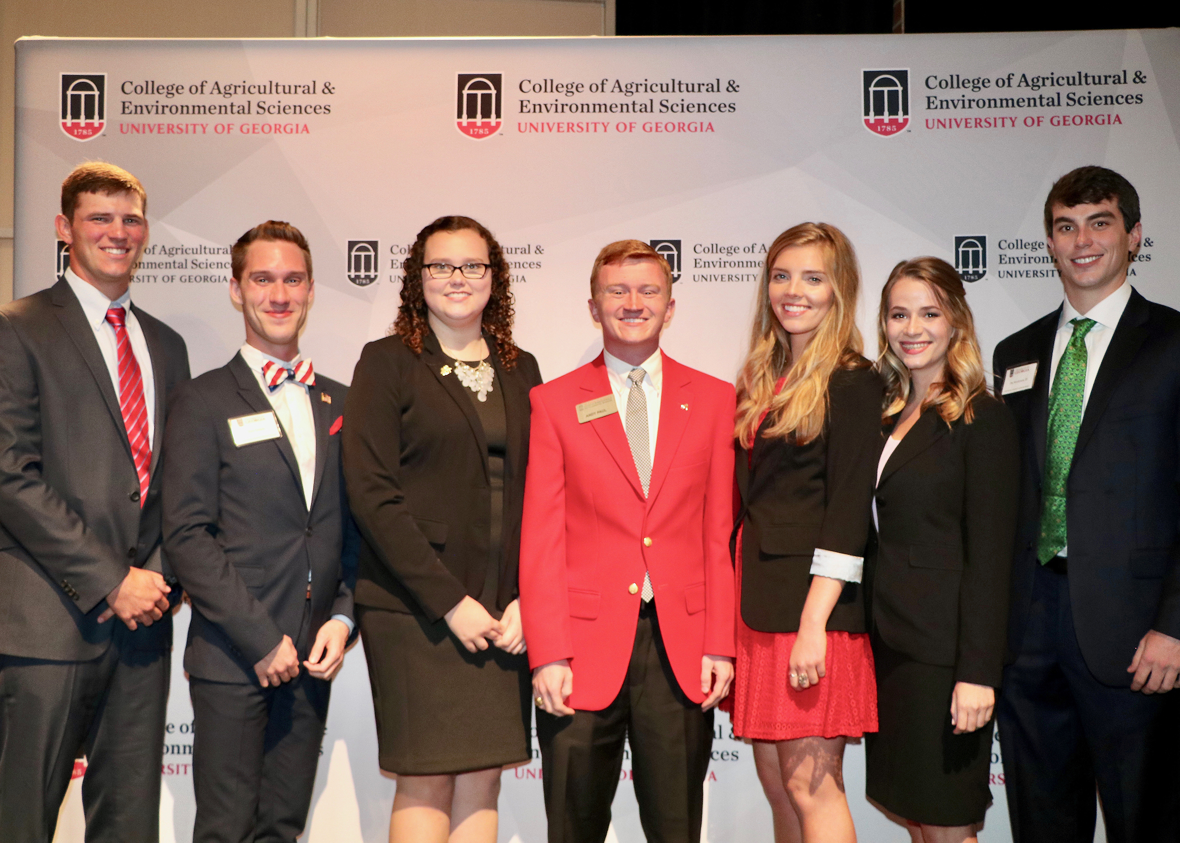 UGA College of Agricultural and Environmental Sciences Congressional Agricultural Fellows, from left, Taylor Teague, Zane Tackett, Ashley Smith, Andy Paul, Hayley Nielsen, Makinizi Hoover and Jim Henderson will spend 12 weeks this summer working with Georgia congressmen and senators in Washington, D.C.