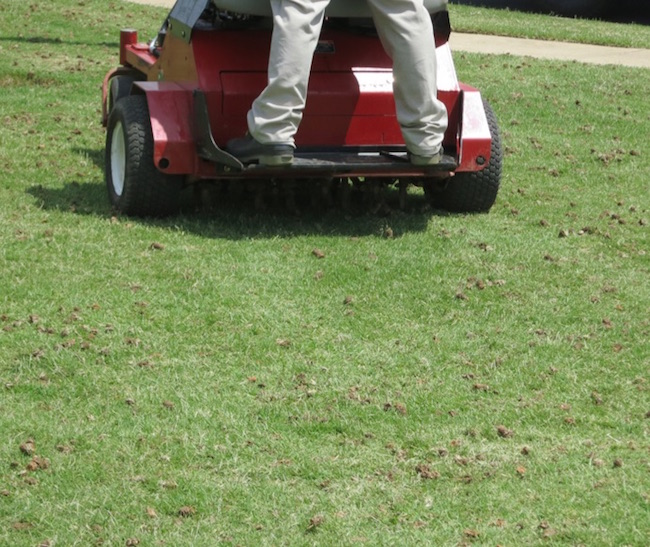 There are two basic types of aerification, hollow and solid tine. With hollow tine a soil core is removed, while with solid tine aerification a hole is created and no core is removed. With both types, a void in the soil is created that allows air and water to more deeply penetrate the root zone. The aeration benefits are longer lasting with hollow tine (pictured) due to the removal of the core.