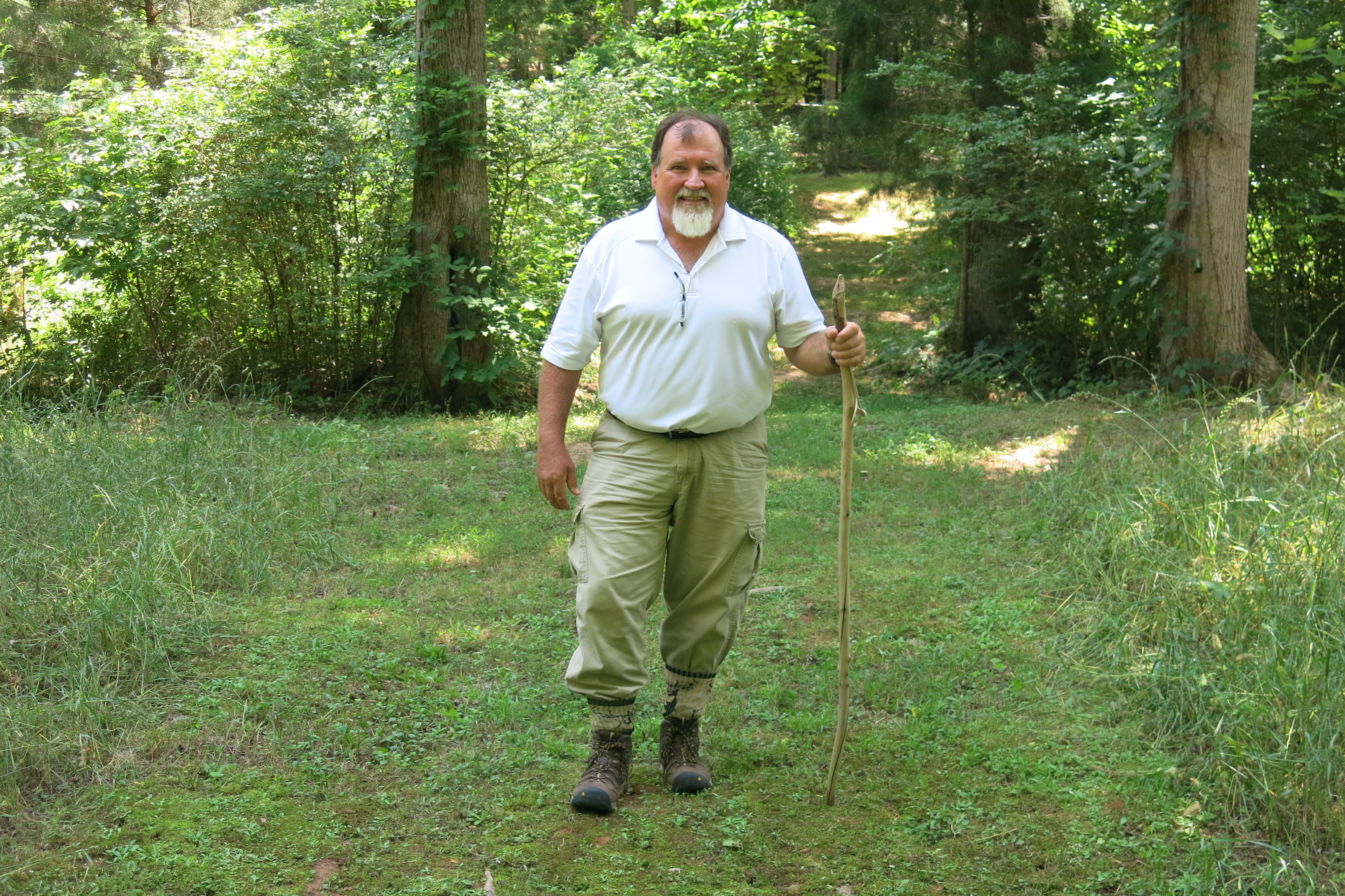 The best way to protect against ticks this summer is to stay on mowed or paved pathways. If you're going to be in brushy areas or tall grass, wear long pants that are tucked into boots or socks and tuck in shirts. Here, Elmer Gray, a public health entomologist with the University of Georgia Cooperative Extension, is wearing the clothing he uses when in a tick habitat.