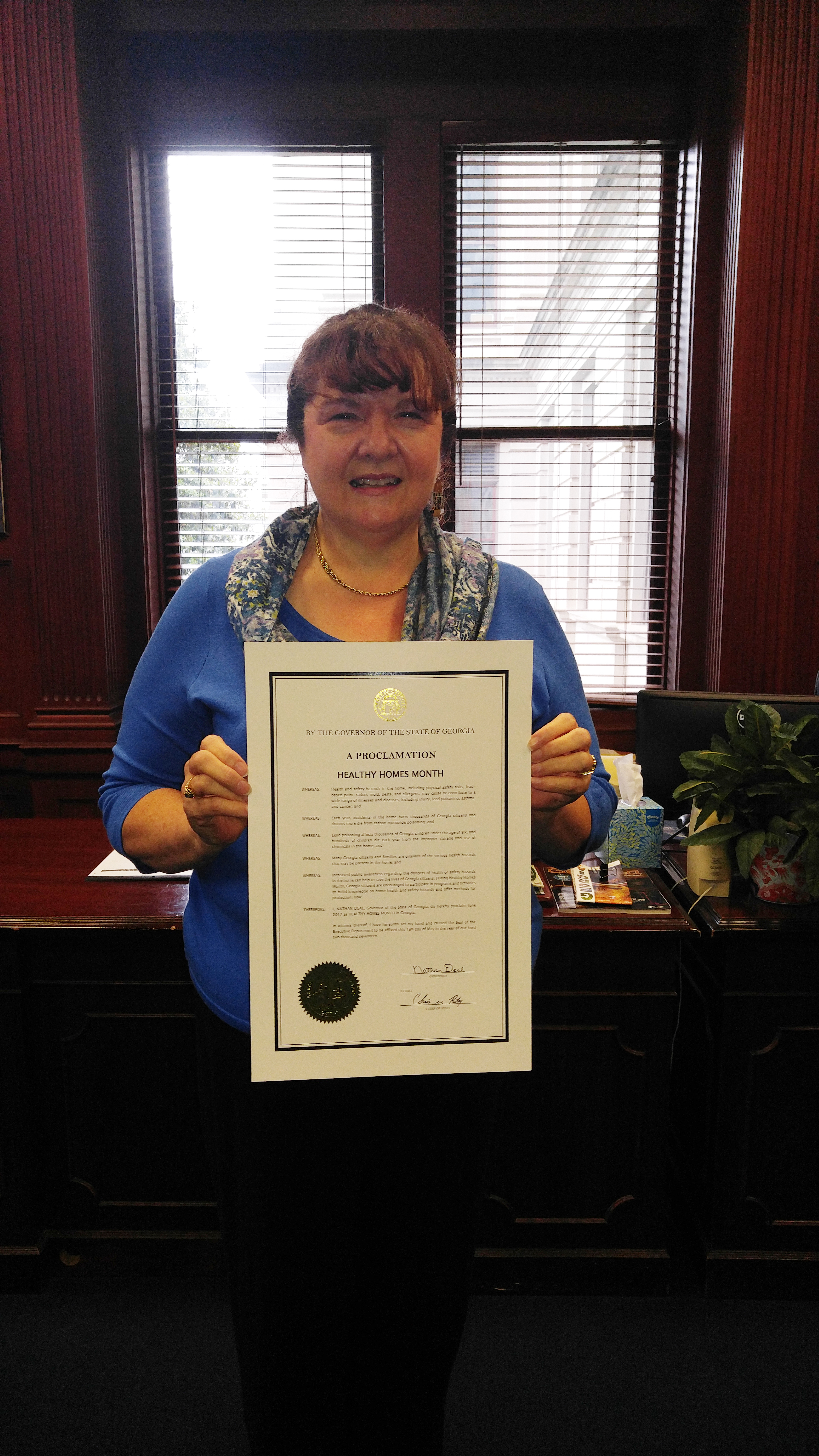 Pamela Turner, UGA Extension housing specialist, serves on the boards of the Georgia Healthy Home Coalition and the Rural Georgia Healthy Housing Advisory Board, both of which worked with Gov. Nathan Deal to proclaim June Healthy Homes Month.