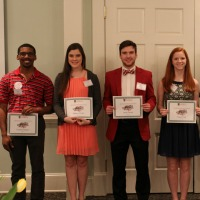 The Department of Agricultural and Applied Economics awarded 30 scholarships for 2017-2018. From left, recipients include Charles Orgbon, Mallory Chafin, Jared Daniel, Kayla Imler, Ashley Smith and Mallory Warren.