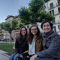 University of Georgia College of Agricultural and Environmental Sciences Director of Experiential Learning Amanda Stephens, CAES undergraduate student Abigail Pierce and CAES Associate Professor of Agricultural and Applied Economics Susana Ferreira celebrate the first semester of successful student exchange with Universidad Publica de Navarra in Pamplona, Spain.