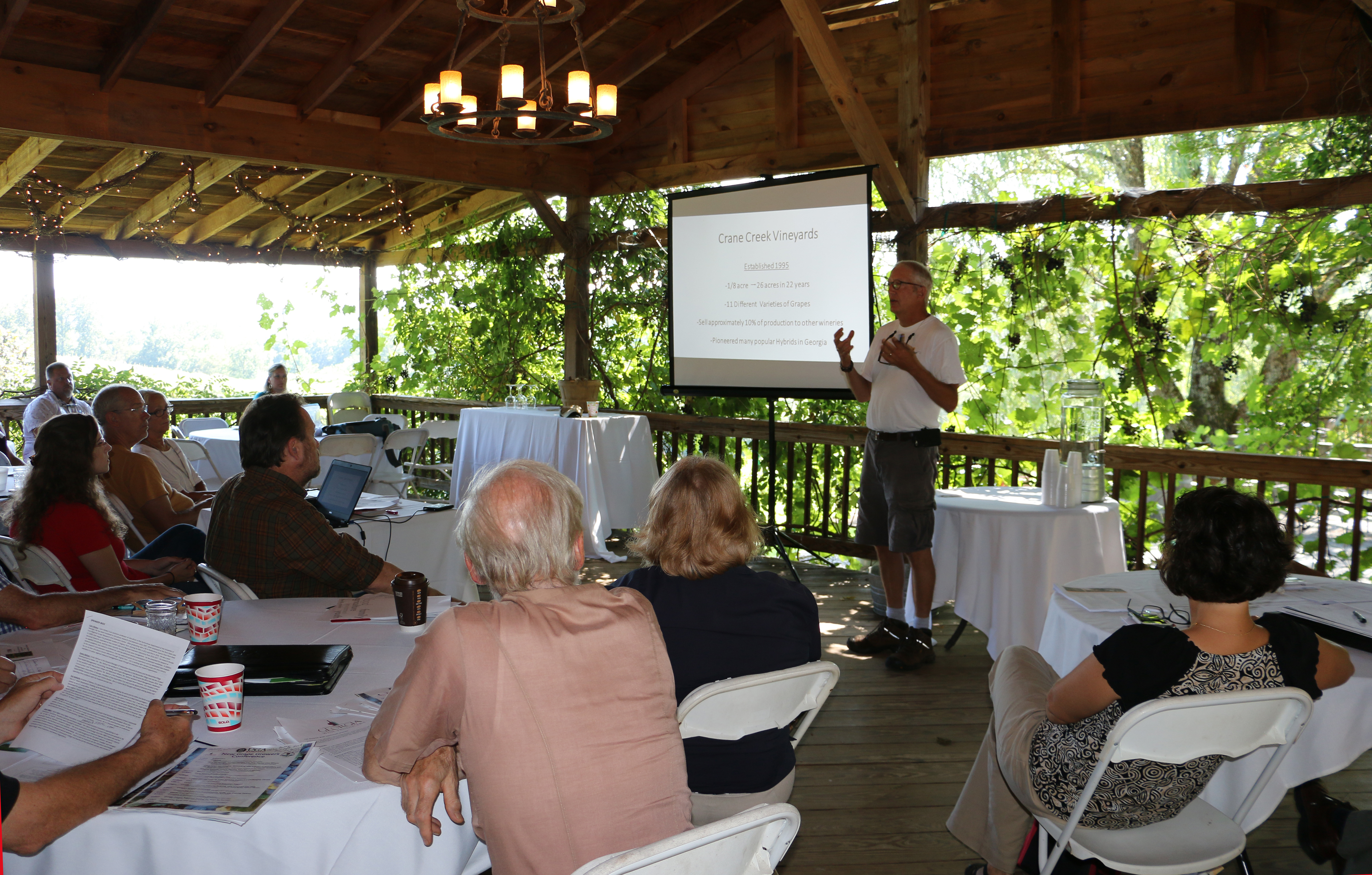 Eric Seifarth, who started Crane Creek Vineyards in 1995 and now produces about 4,200 cases of wine a year, warns and encourages fledgling grape growers at UGA Extension's Beginning Grape Growers Conference in Young Harris, Georgia.