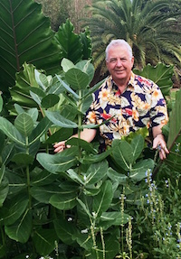 Norman Winter stands by a 5-foot tall giant milkweed with leaves as big as a rubber tree at the Coastal Georgia Botanical Gardens in Savannah.