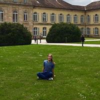 "Alyssa Beckstead on the grounds in front of ""Schloss Hohenheim,"" the former castle that houses the University of Hohenheim."