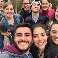 Alyssa Beckstead, second row,  far left, with international friends on a hike to Lichtenstein Castle.