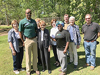 Former first lady Rosalynn Carter pictured with Dougherty County Extension Coordinator James Morgan and other Master Gardeners at the Carter Compound in Plains, Georgia.