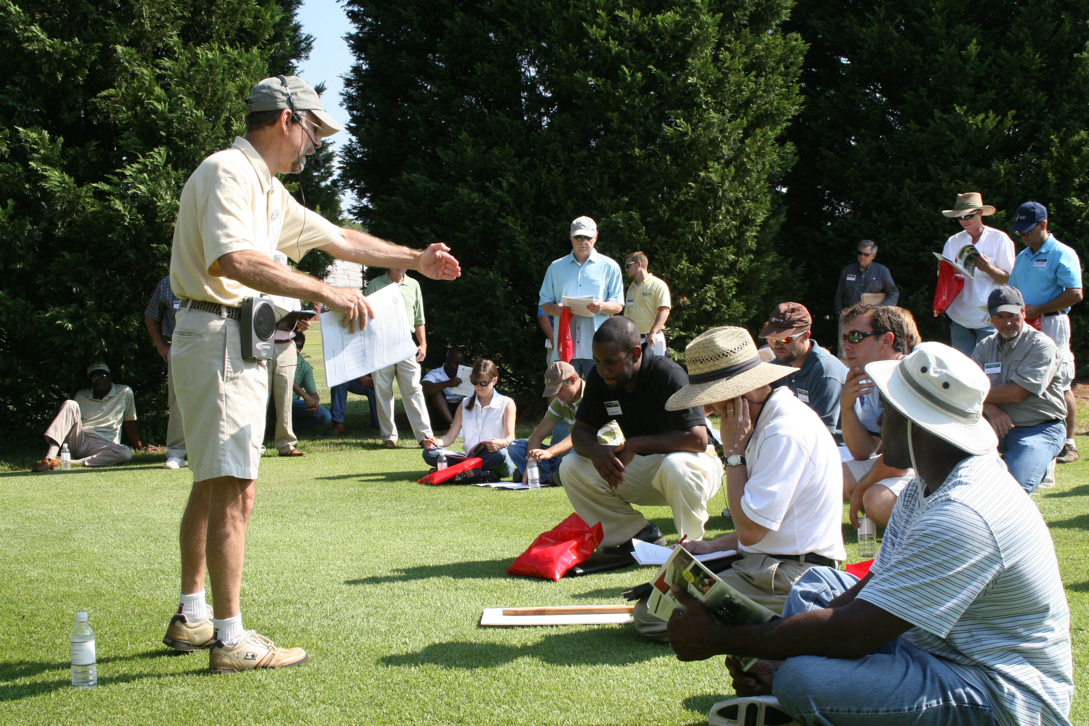 Hundreds of turfgrass professionals are expected to attended the bi-annual UGA Turfgrass Field Day set for Aug. 4 on the campus in Griffin, Ga. UGA plant pathologist Lee Burpee is shown discussing disease control at the 2008 field day.