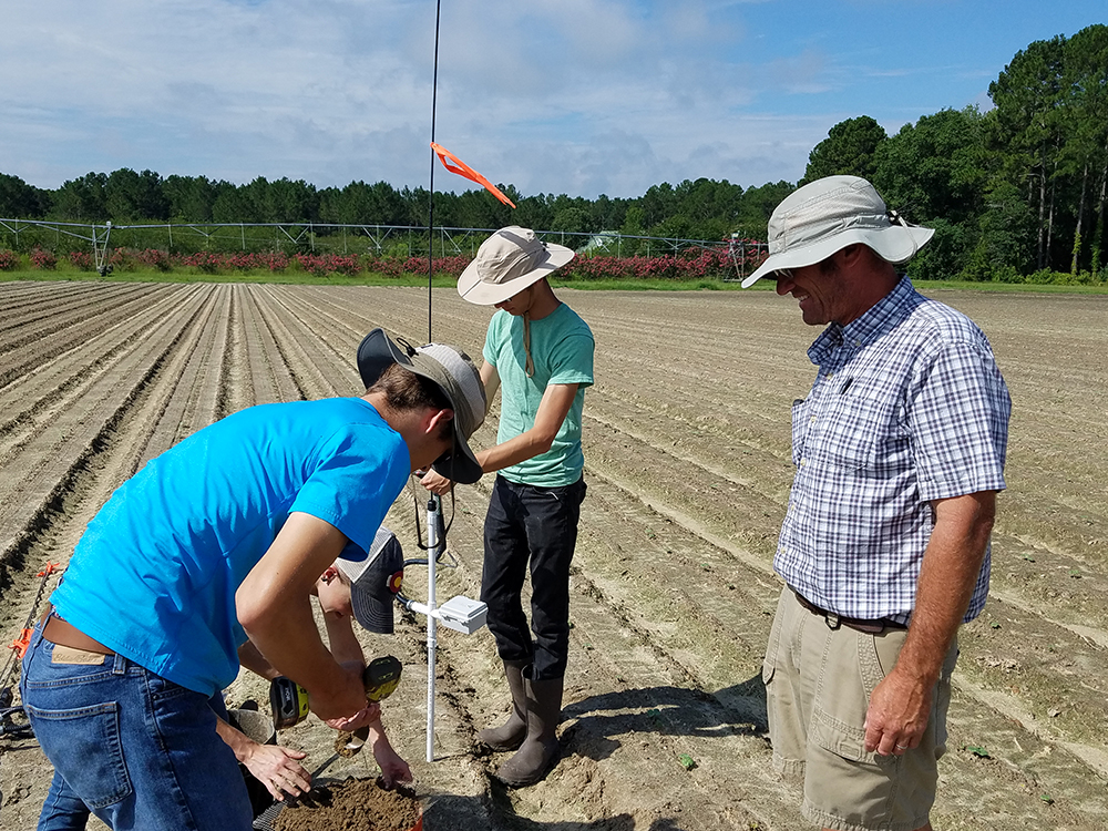 A vendor installs a soil moisture probe in a cotton field assisted by Jeremy Kichler, Colquitt County Extension Coordinator.