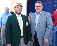 University of Georgia President Jere W. Morehead (right) and 2017 Georgia Swisher Sweets/Sunbelt Expo Farmer of the Year Everett Williams (left) are pictured at the 40th annual Sunbelt Agricultural Expo in Moultrie, Georgia, on Tuesday, Oct. 17.