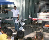 David Daughtry, University of Georgia Tifton campus graduate research assistant and licensed drone pilot, speaks to local elementary school students about agricultural uses for drones during the Agricultural and Environmental Awareness Day held in May 2017.