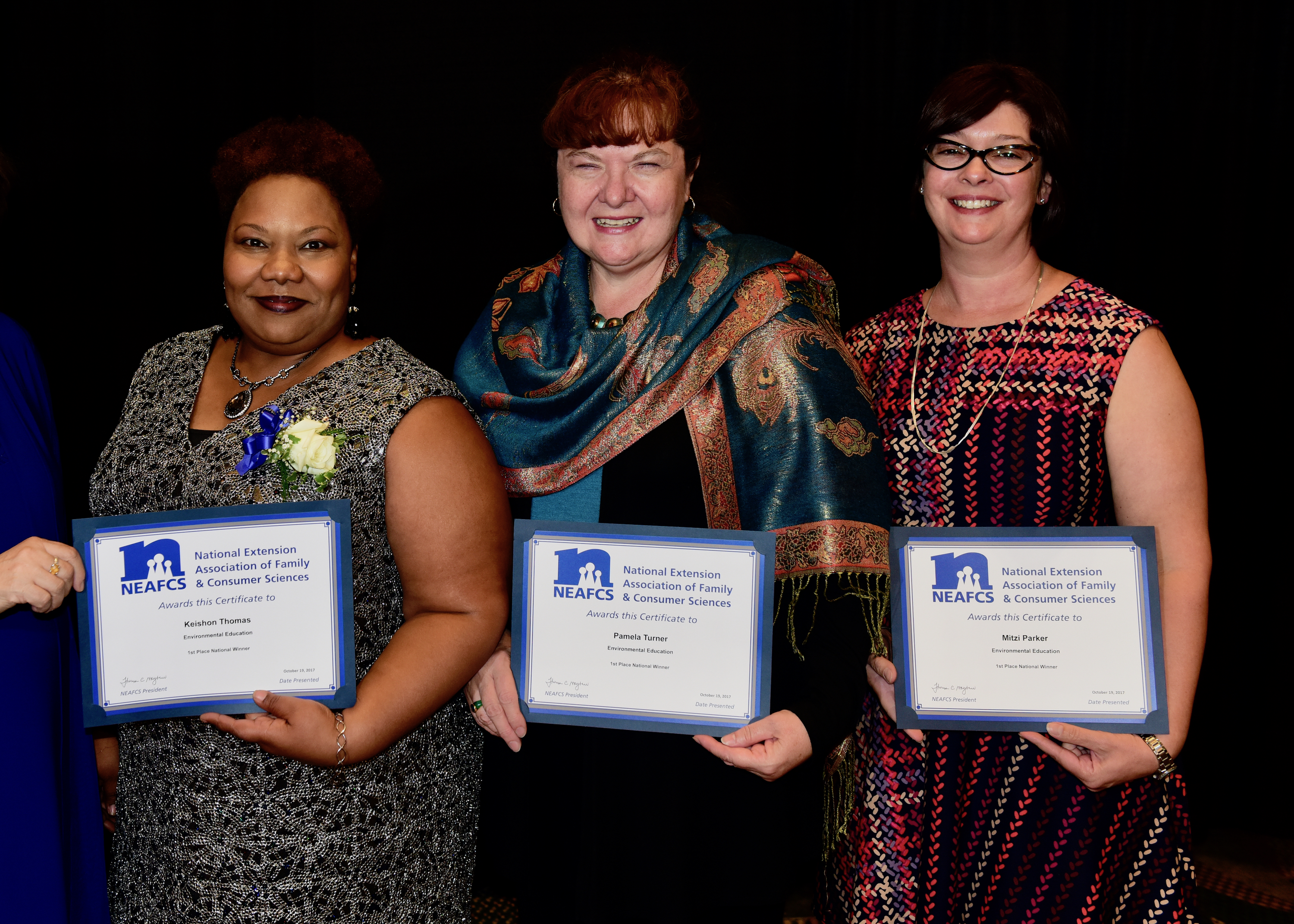 Keishon Thomas, Pamela Turner and Mitzi Parker were recently honored at the National Extension Association of Family and Consumer Sciences 2017 Annual Session, where they received the first place National and Southern Region Environmental Education Award. Since 2013, the Rural Georgia Healthy Housing Advisory Board has promoted healthier and safer housing conditions in Georgia, particularly for low-income residents, children, elderly, minorities and other vulnerable populations living in rural communities.