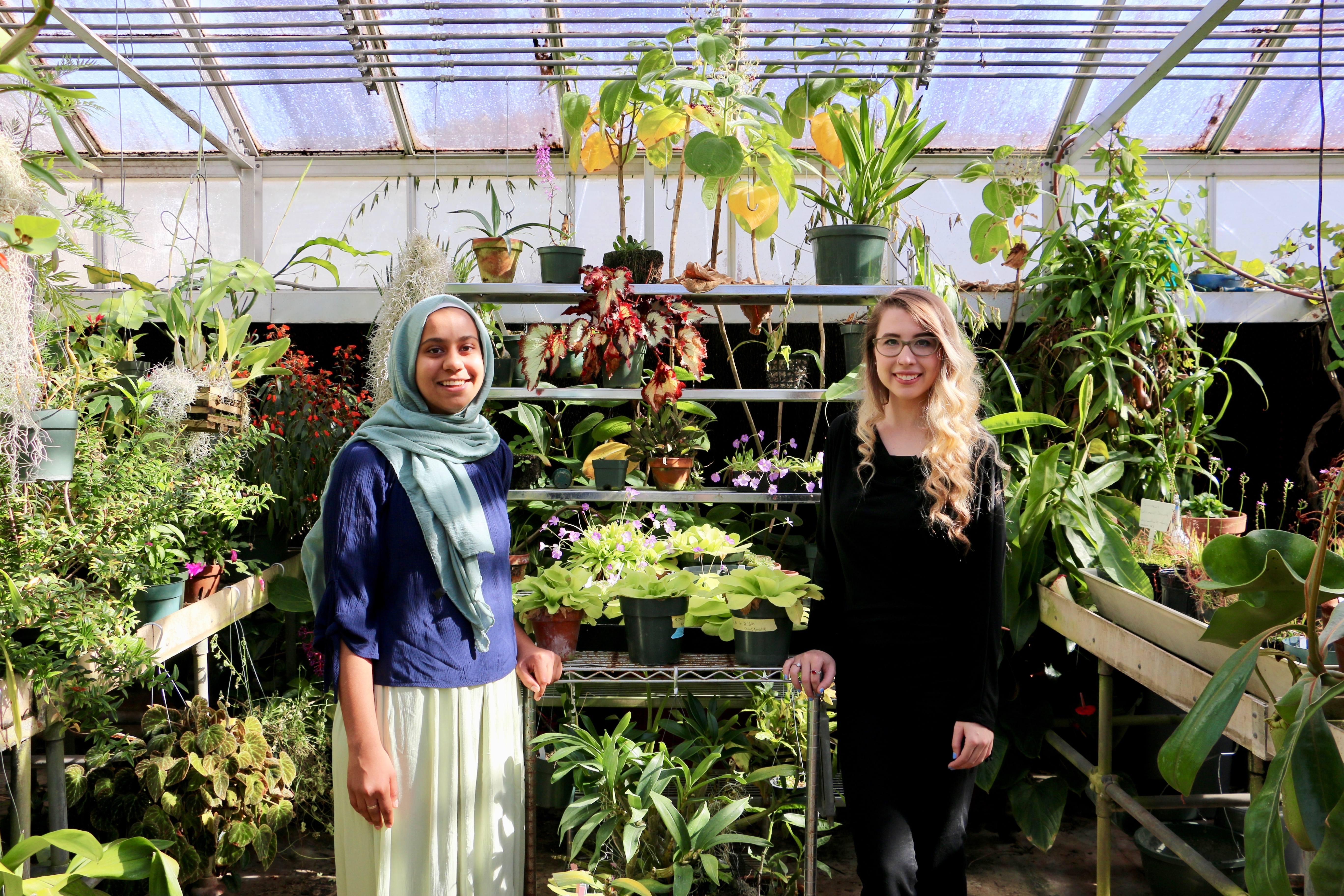Ruqayah Bhuiyan, left, a horticulture student in the UGA College of Agricultural and Environmental Sciences, and Niki Padgett, a biology student in the UGA Franklin College of Arts and Sciences, will head to the Kennedy Space Center in Florida for research internships focusing on ways to grow food in space this spring.