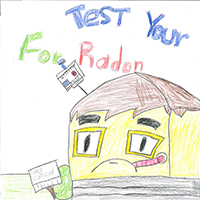 Flor Campos-Robles, a fifth-grade Clarke County 4-H member from Athens, Georgia, won third place with her poster featuring a house that appears to be feeling under weather and warns about the dangers of radon.