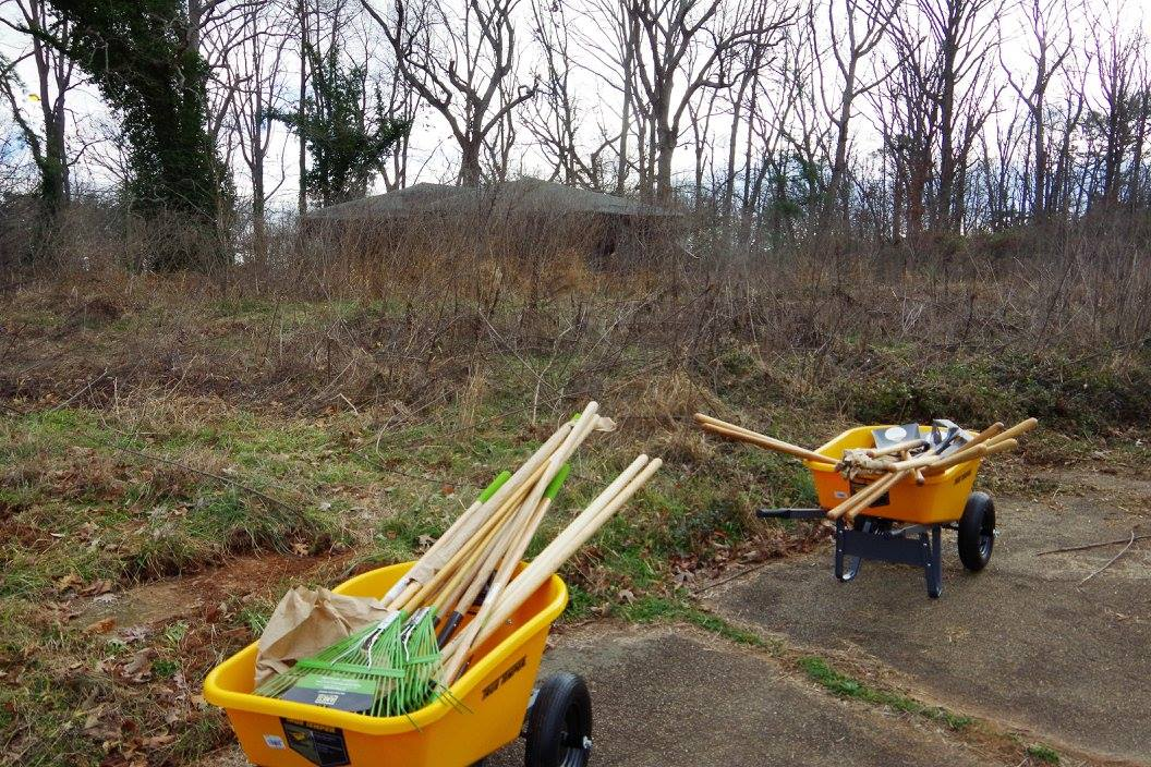 Volunteers with UGA Cooperative Extension in Fulton County braved the cold on Jan. 19 to start the cleanup process at Camp Fulton/Truitt 4-H Center in College Park, Georgia. Brush and trash were cleared to create a site for a new educational garden.
