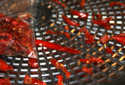 Homegrown tomatoes dried in a food dehydrator