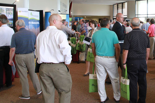 Participants view exhibits at the 2010 Southeast Bioenergy Conference at the University of Georgia Tifton Campus Conference Center.