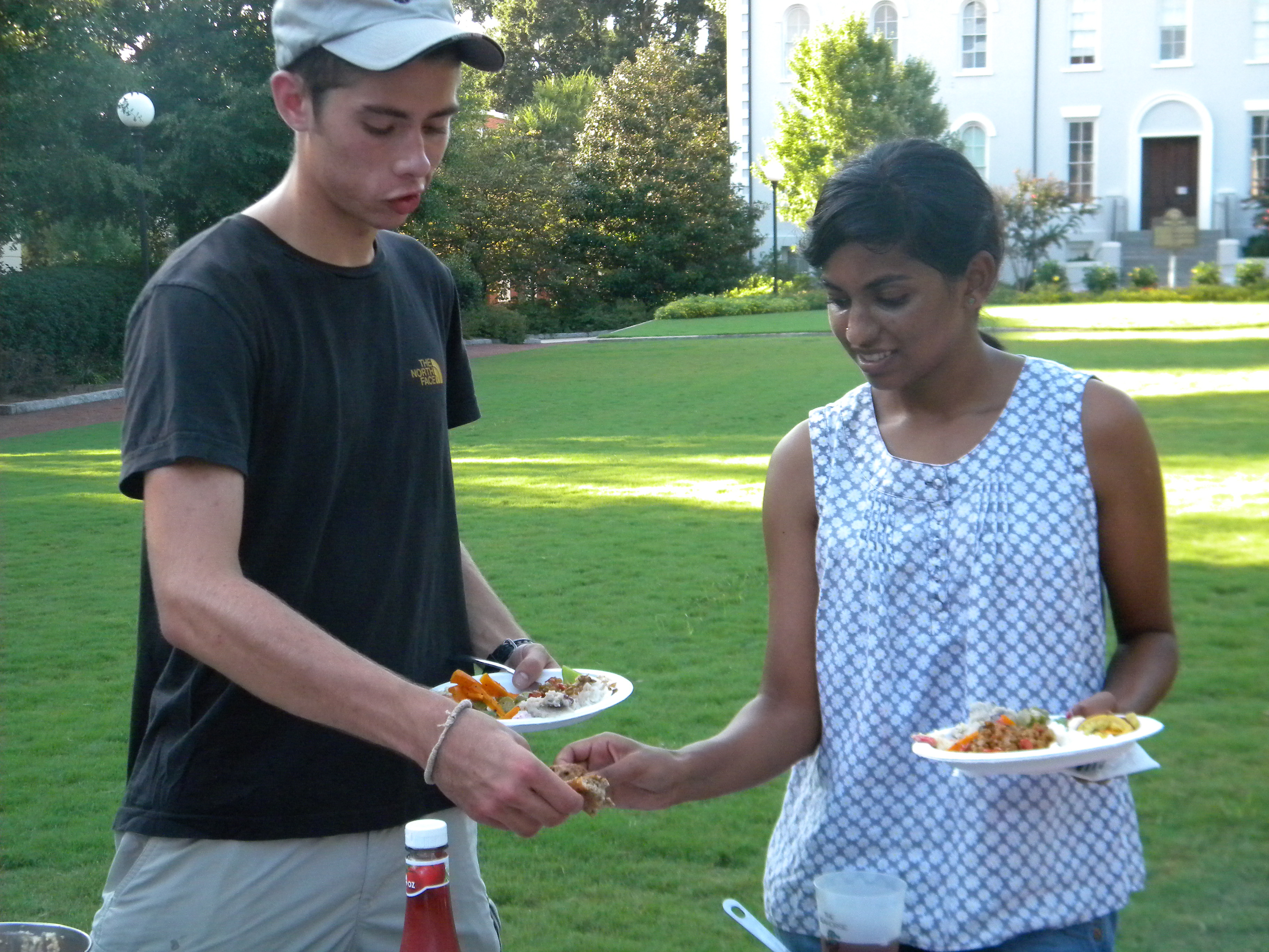 Students share food harvested from the UGArden.