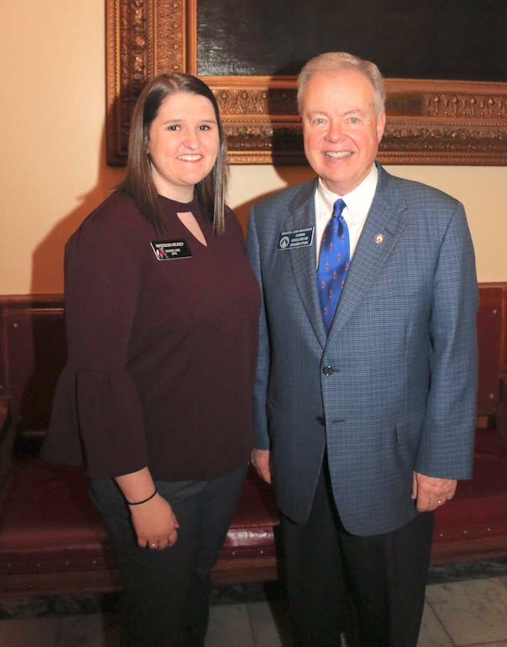 Madison Hickey, a senior majoring in agricultural communication, is serving as a legislative intern with the Senate Agriculture and Consumer Affairs Committee as part of the UGA College of Agricultural and Environmental Sciences' legislative internship program. She will spend 12 weeks working with the committee, which is chaired by Sen. John Wilkinson.