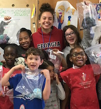 Liberty County 4-H member Sophia Rodriguez created the Tie Dye for Troops program to facilitate an open dialogue in which youths can explore and express their emotions. Rodriguez and fellow 4-H leaders visit the Fort Stewart School Age Centers each month to teach lessons on the importance of feelings, color and creativity.