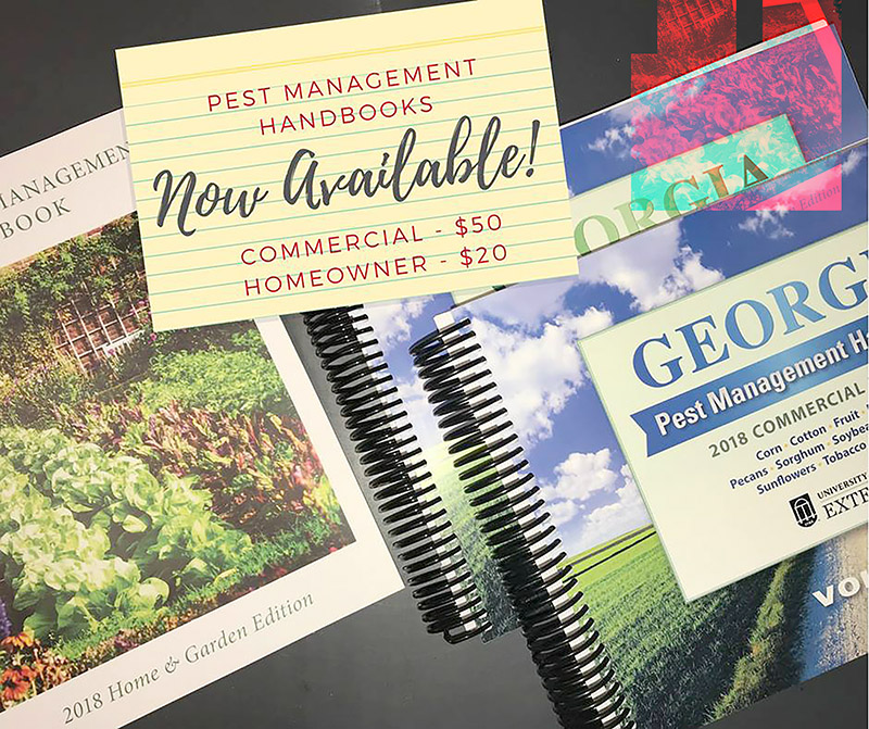 Agents use the home and garden edition of the 2018 Georgia Pest Management Handbook to give control recommendations. Both the home and garden and commercial editions of the handbook provide current information on selection, application and safe use of pest control chemicals.