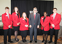 UGA President Jere W. Morehead and the student ambassadors on the UGA Tifton campus.
