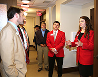 UGA student ambassadors Kelly Paulk and Pete Perrin give a tour of the newly renovated Agricultural Research Building.