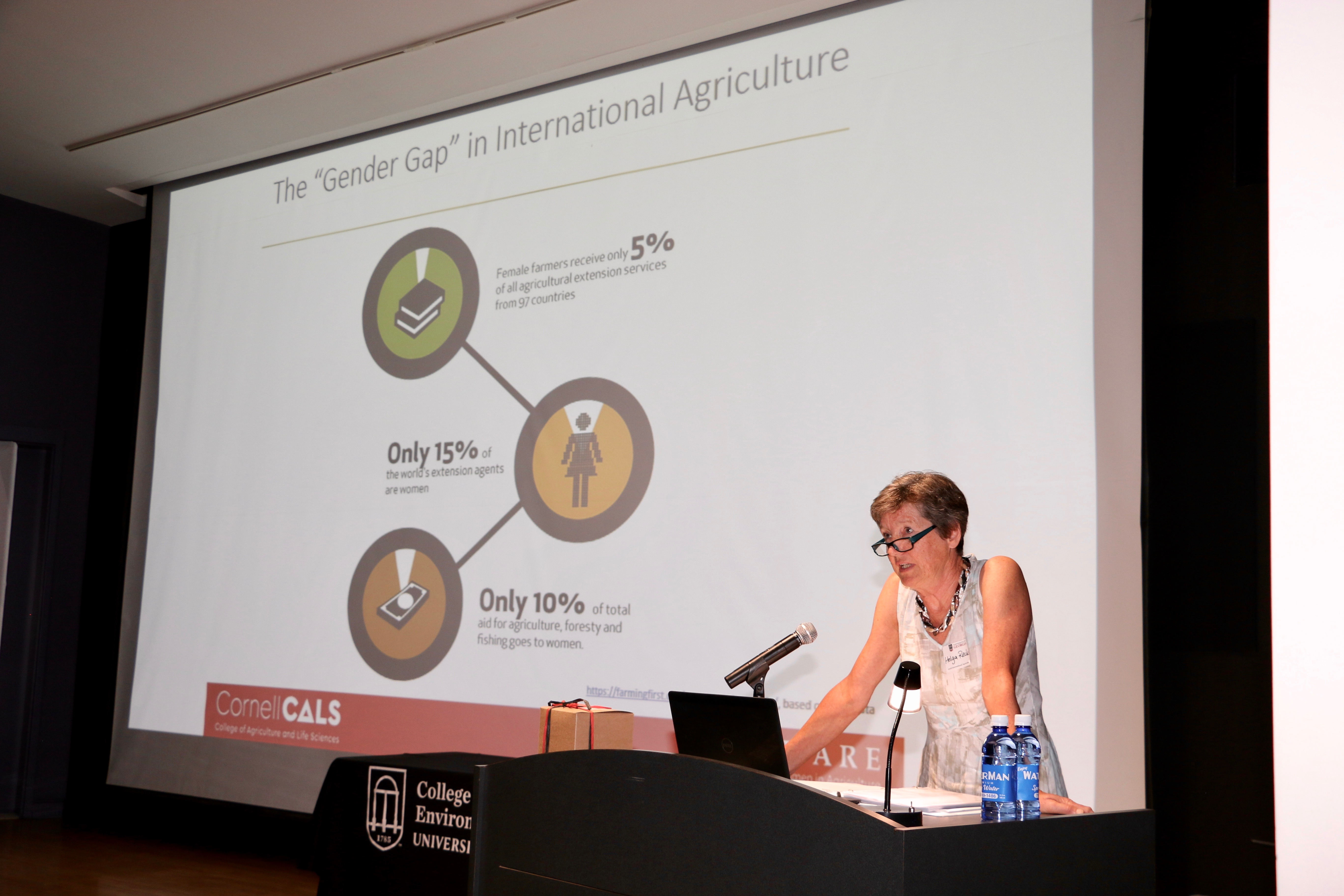 Helga Recke, a Visiting Fellow in Cornell University's College of Agriculture and Life Sciences' Advancing Women in Agriculture through Research and Education (AWARE) program, spoke at the International Agriculture Day Lecture and Reception.