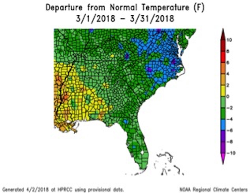 This year, the average temperature for March was lower than the average temperature for February.