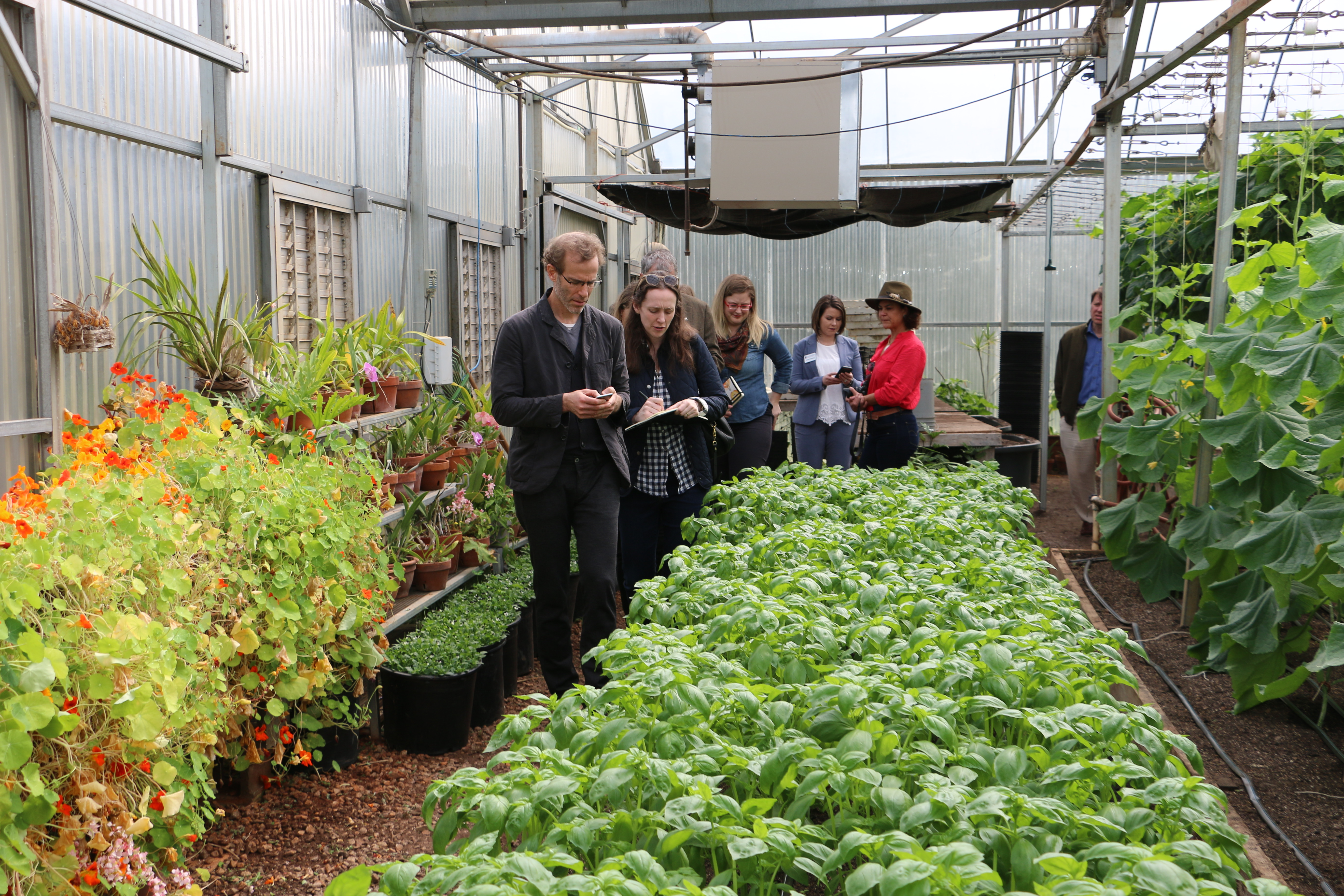 Chef Dan Barber and Row 7 Seeds employee Charlotte Douglas tour the greenhouses at Whippoorwill Farms in Winterville, Georgia while Barber was in Athens to speak at the University of Georgia Tuesday, April 10.