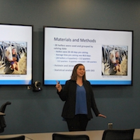 """Carolyn Einertson, who was mentored by Stephen Nickerson of the Department of Animal and Dairy Science, won first place in the oral presentation section of the UGA College of Agricultural and Environmental Sciences Undergraduate Research Symposium with her talk, """"Using Pre-Calving Mammary Secretions to Predict Udder Infection Status in Dairy Heifers."""""""