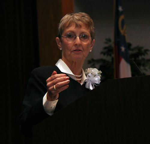 """Jean Kinsey, a professor at the University of Minnesota, gives the 2010 D.W. Brooks Lecture on """"Feeding Billions: Local Solutions or Global Distribution"""" in Athens, Ga."""