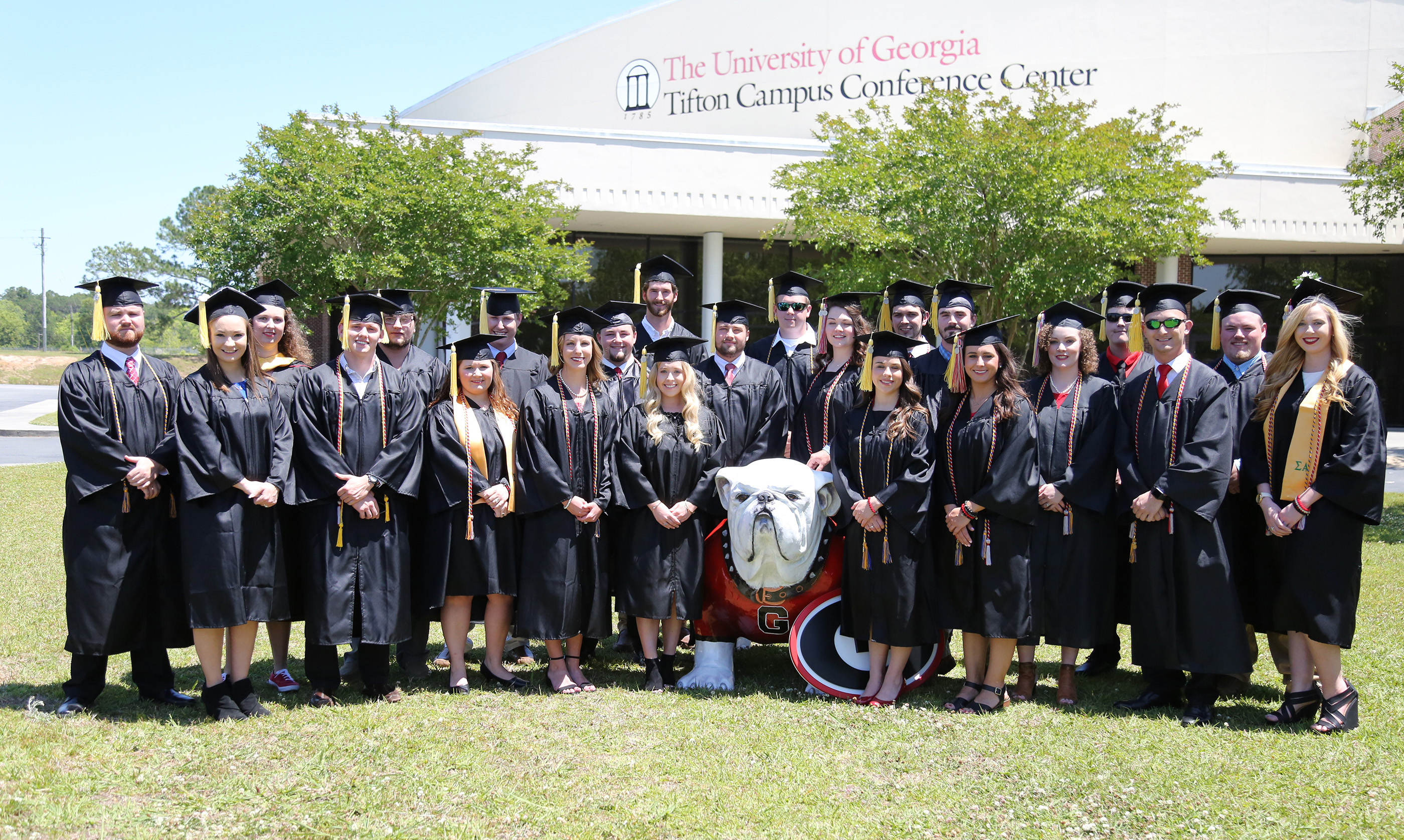 Members of the UGA-Tifton 2018 spring and summer graduation classes pose for a picture outside the UGA Tifton Campus Conference Center on April 29, 2018.