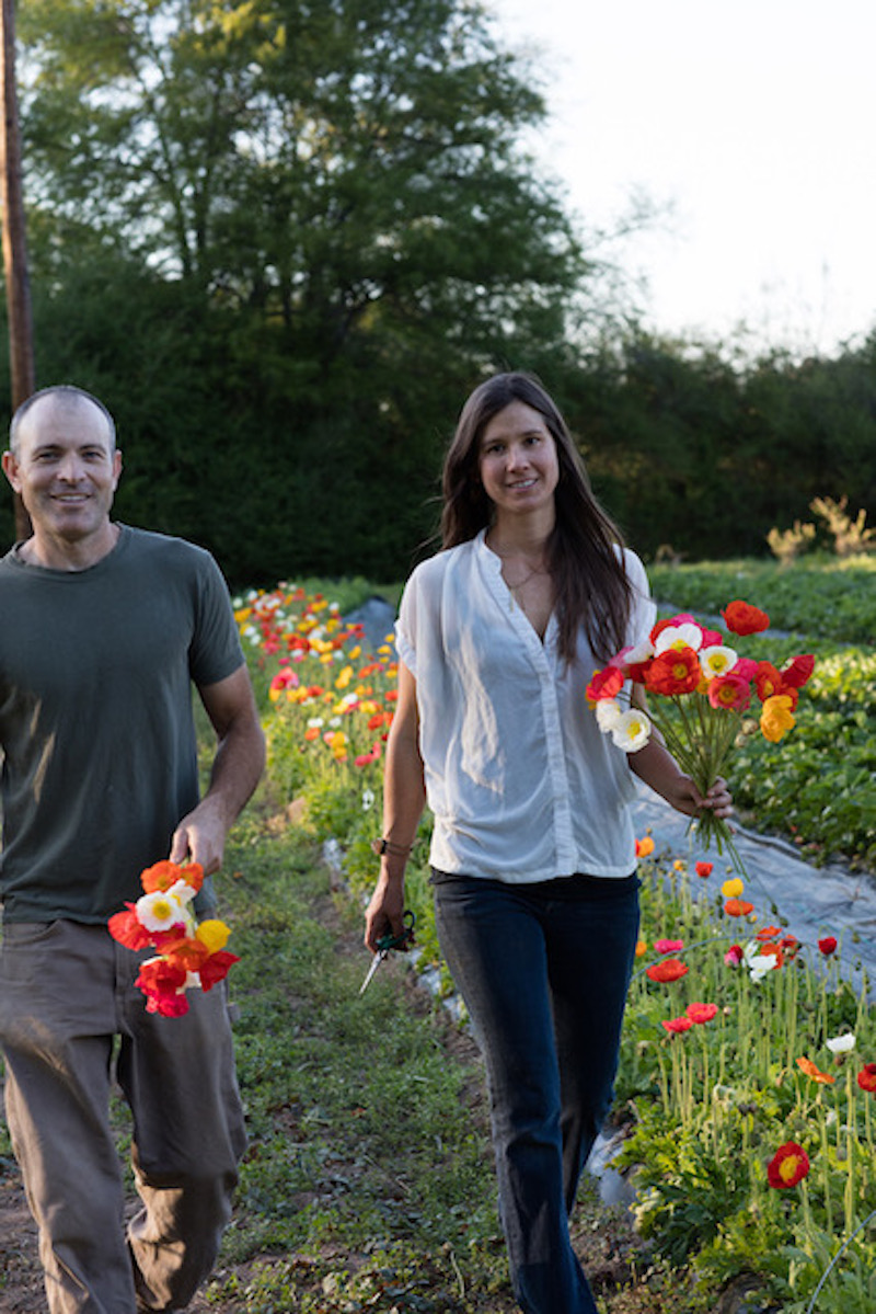 Steve and Mandy O'Shea, owners of 3 Porch Farm in Comer, Georgia, produce cut flowers for the local market.