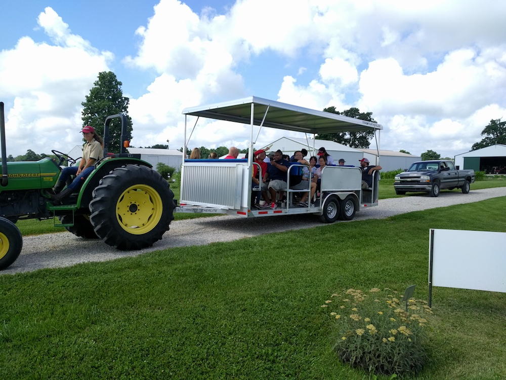 Graduate students from the UGA College of Agricultural and Environmental Sciences tour a research farm at Purdue University during a past Crop Protection Tour, a career exploration road trip organized by students. The students will hit the road again on July 10.